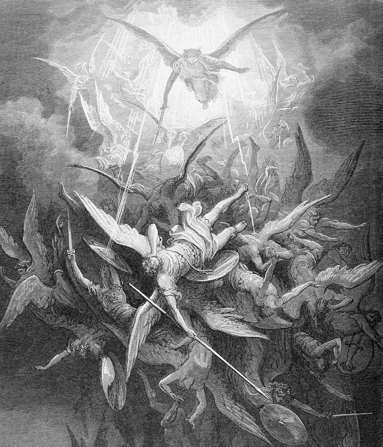 Fall Of Lucifer: The Fall Of The Rebel Angels Painting By Gustave Dore