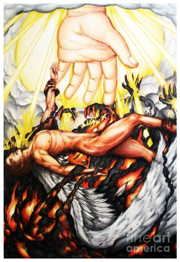 The Fallen Angel Drawing - The Fallen Angel by Derrick Rathgeber