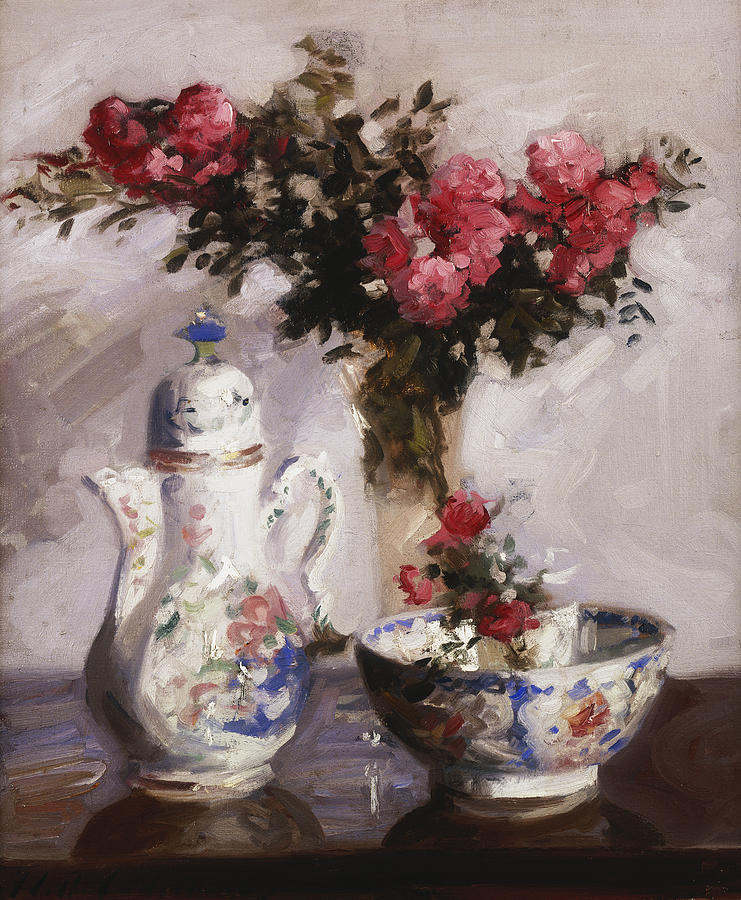 Cadell Painting - The Famille Rose Coffee Pot by Francis Campbell Boileau Cadell