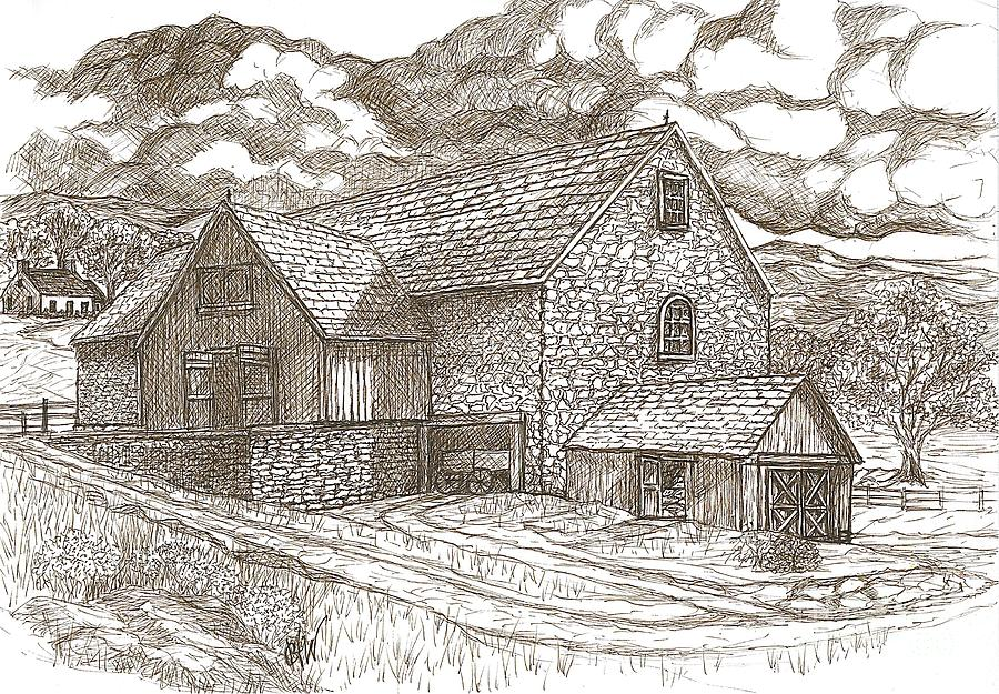 Stone Building Painting - The Family Farm - Sepia Ink by Carol Wisniewski