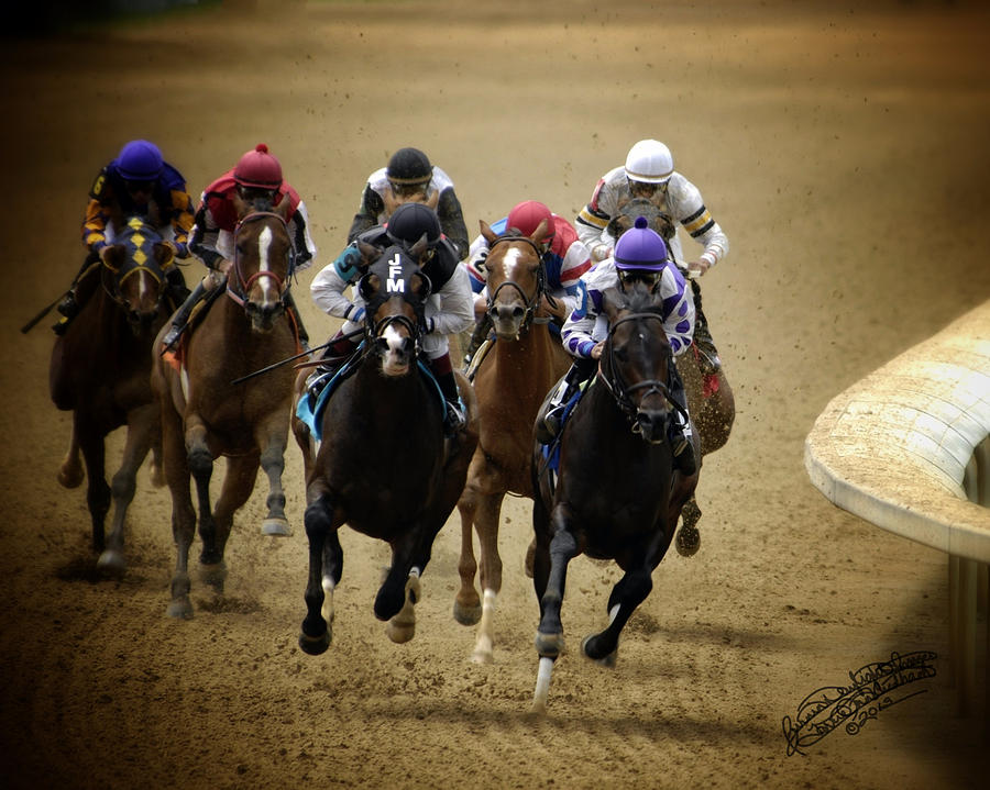 Horse Racing Photograph - The Far Turn by Torrie Ann Needham