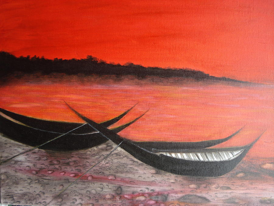 Boats Painting - The Farewell Songs Part 1 by Prasenjit Dhar