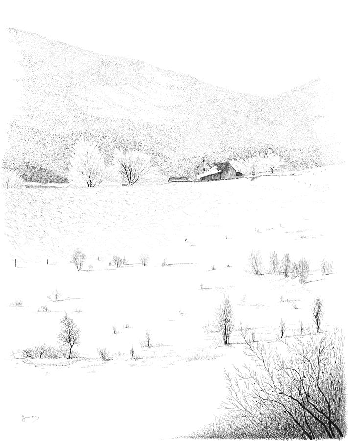 Pen And Ink Landscape Drawing - The Farm by Carl Genovese
