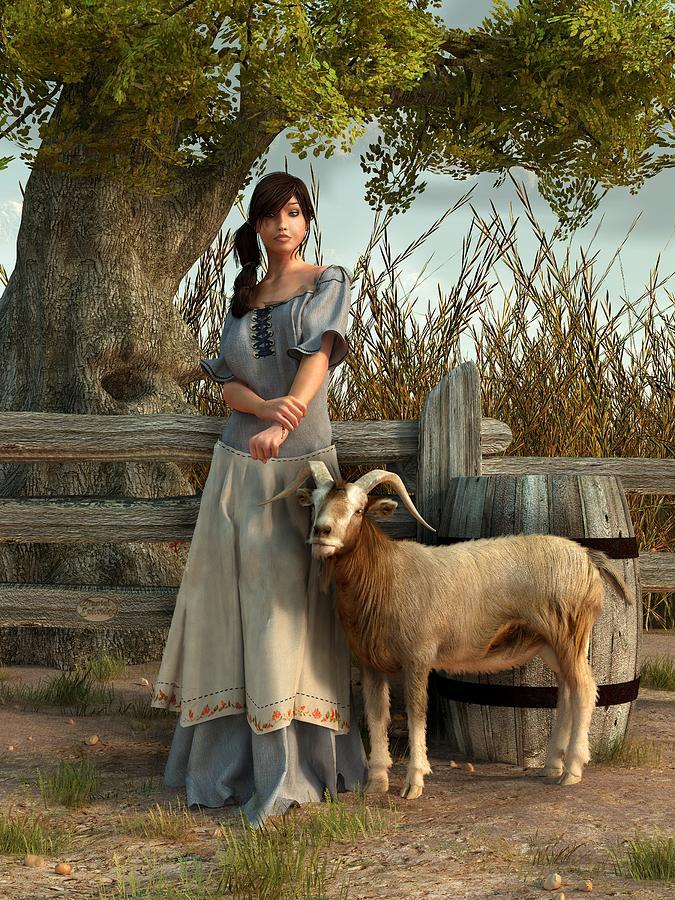 Pastoral Digital Art - The Farmers Daughter by Daniel Eskridge
