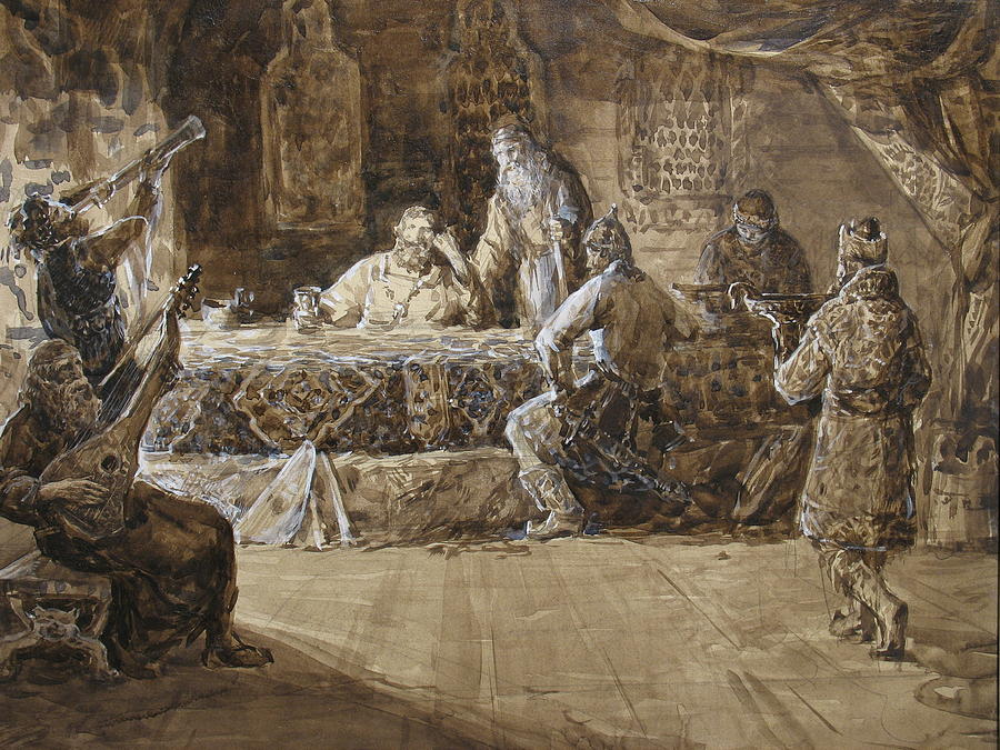 Feast Painting - The Feast Of Prince Vladimir by Korobkin Anatoly