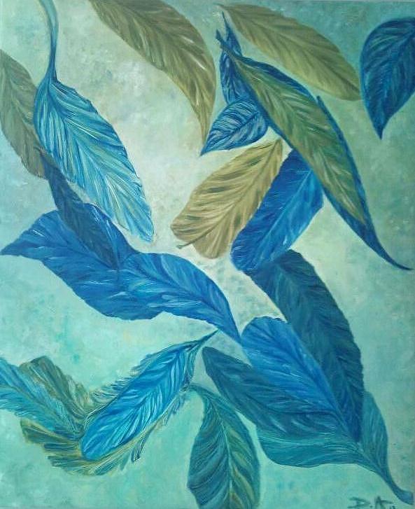 Oil Painting - The Feather-leaf Morph by Derya  Aktas