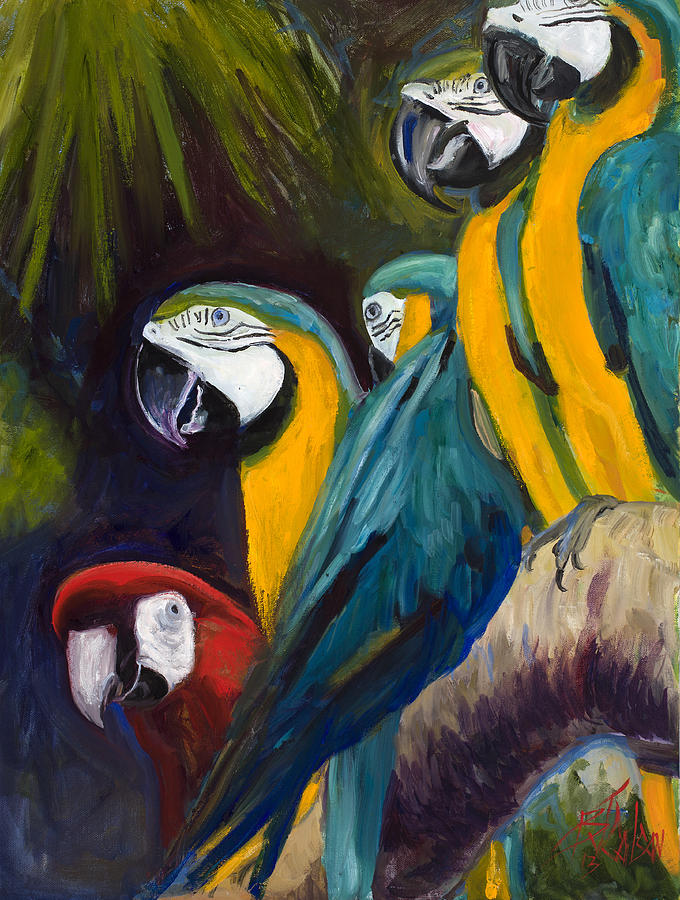 Tropical Birds Painting - The Feisty One by Billie Colson