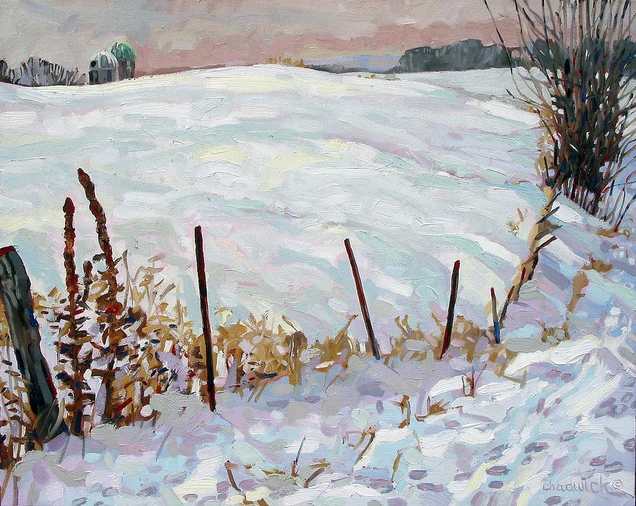 Snow Painting - The Fence Line by Phil Chadwick