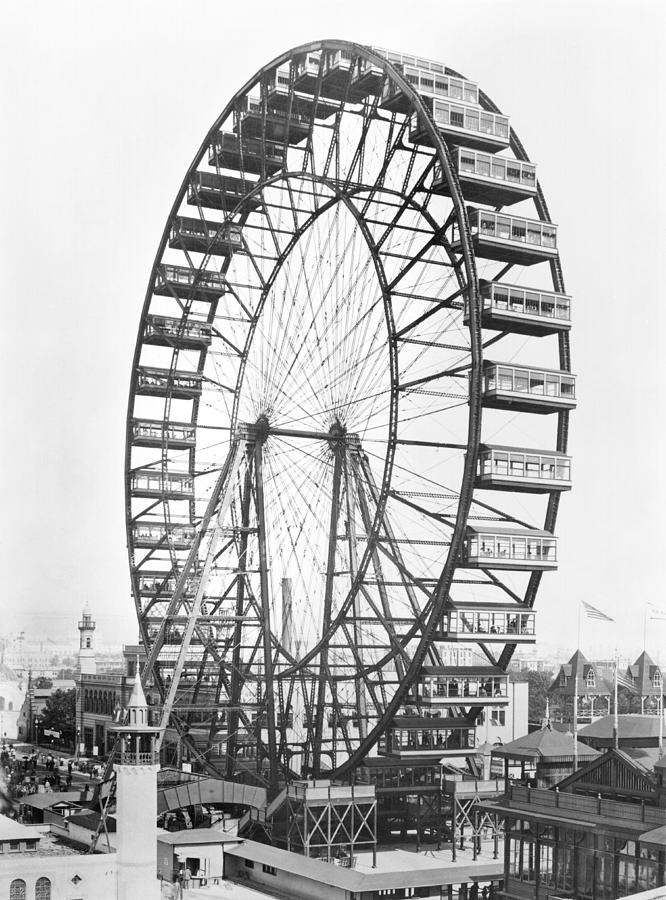 Fairground Photograph - The Ferris Wheel At The Worlds Columbian Exposition Of 1893 In Chicago Bw Photo by American Photographer