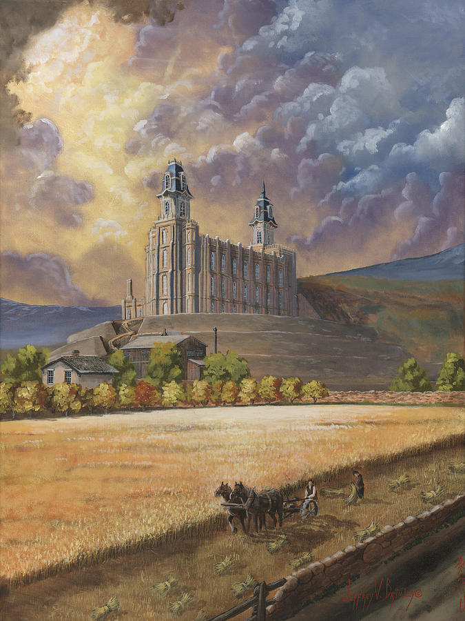 Manti Temple Painting - The Field is White by Jeff Brimley