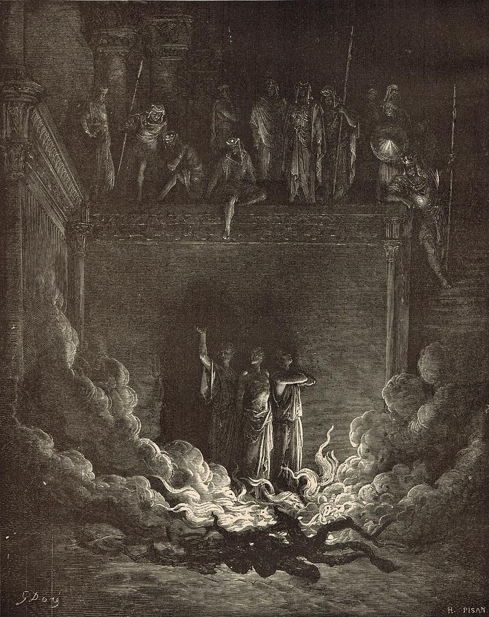 Biblical Drawing - The Fiery Furnace by Antique Engravings