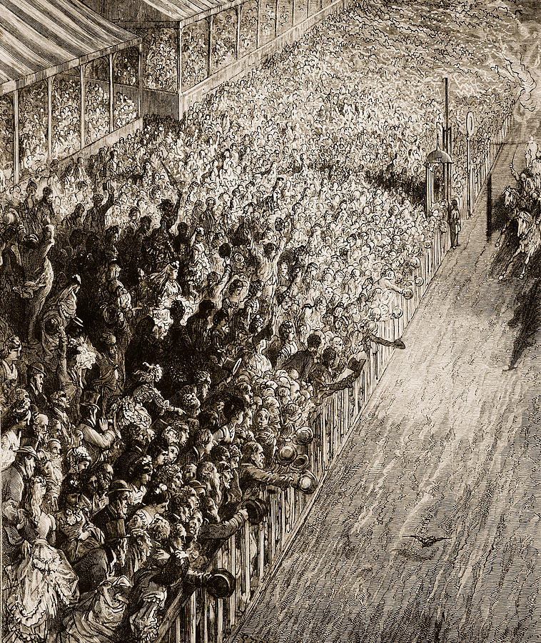 Crowd Painting - The Finishing Line Of The Derby by Gustave Dore
