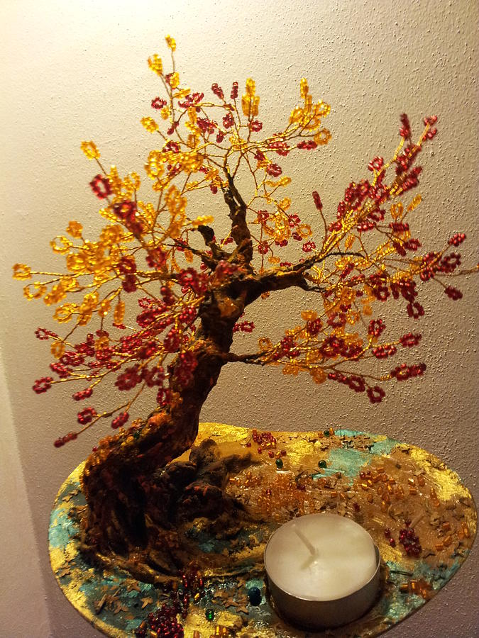 Wire Tree Sculpture - The Fire Element Tree by J-Star Wind