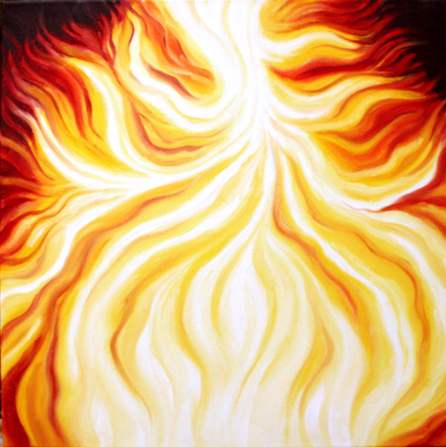 God Painting - The Fire Falls  by Sandra Yegiazaryan