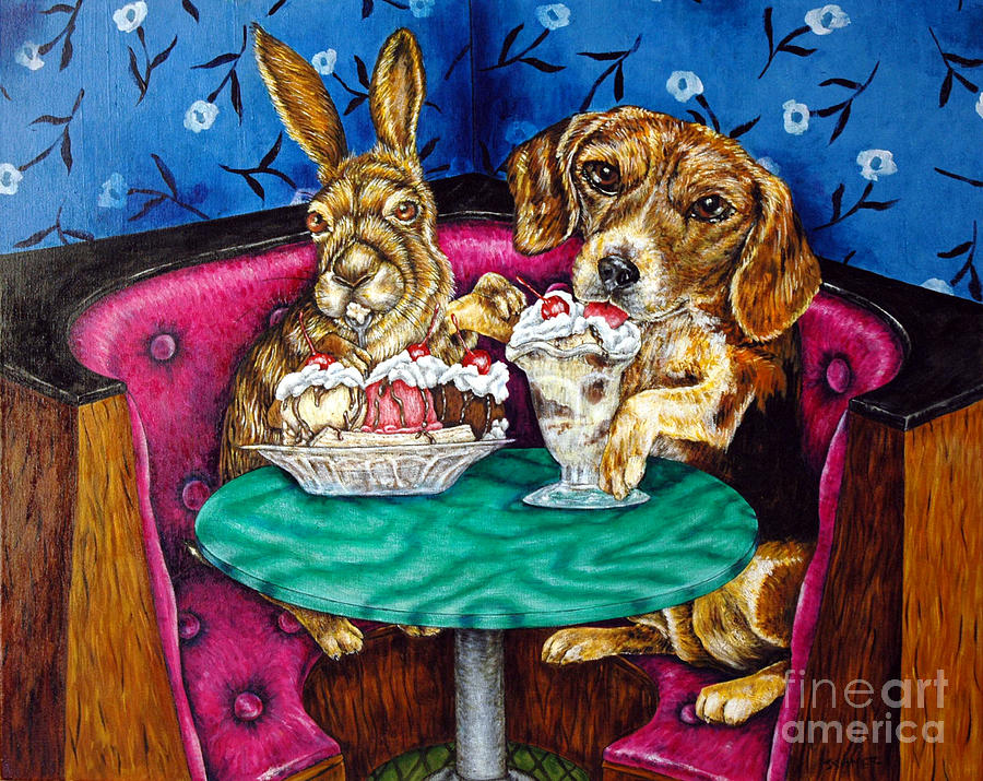Bunny Painting - The First Date by Jay  Schmetz