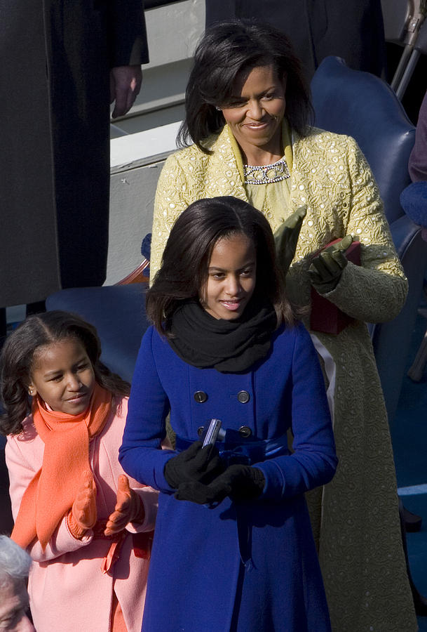 Barack Obama Photograph - The First Lady And Daughters by JP Tripp