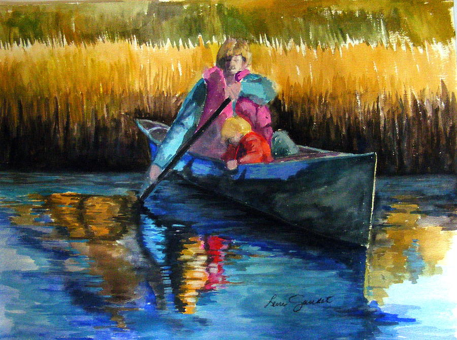 Canoe Painting - The First Mate by Lenore Gaudet