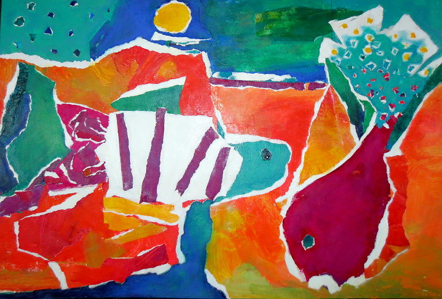 Two Fish Mixed Media - The Fish In The Sea by Diane Fine