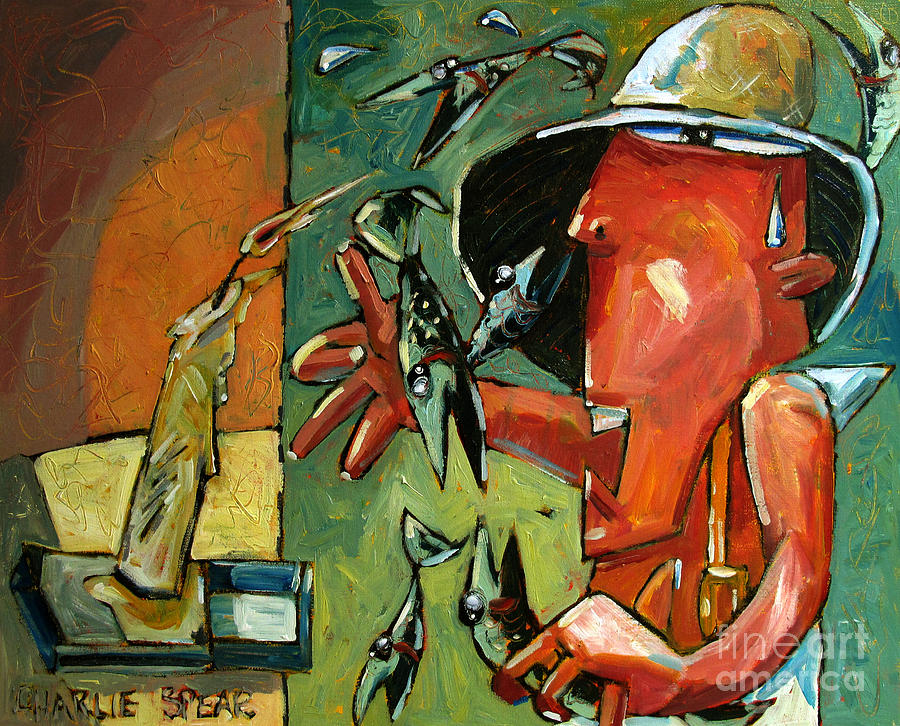 Fish Painting - The Fish Juggler In The White Hat In Candlelight by Charlie Spear