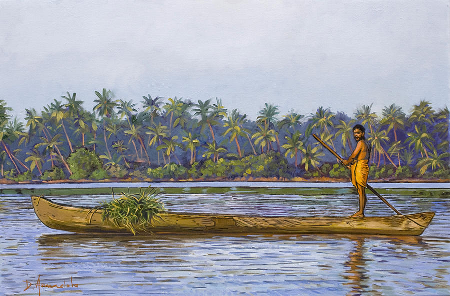 India Painting - The Fisherman And His Boat by Dominique Amendola