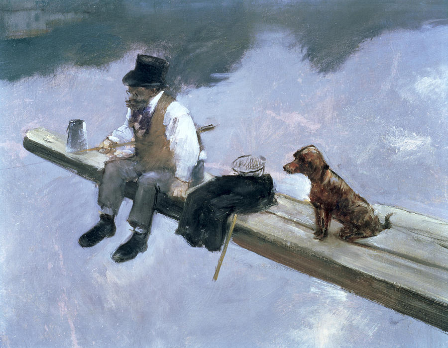 Forain Painting - The Fisherman, Detail Of A Man Fishing by Jean Louis Forain