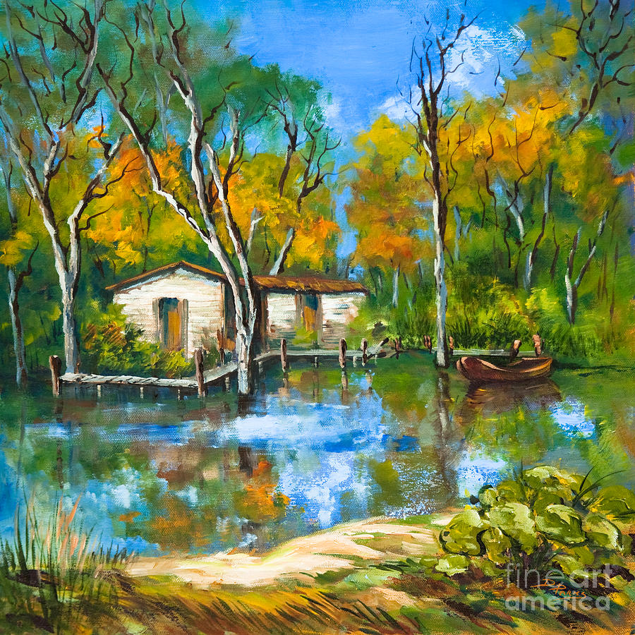 The fishing camp painting by dianne parks for Fishing camps for sale in louisiana