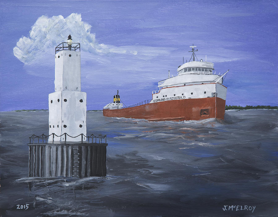 Lighthouse Painting - The Fitz Departs Escanaba by Jerry McElroy