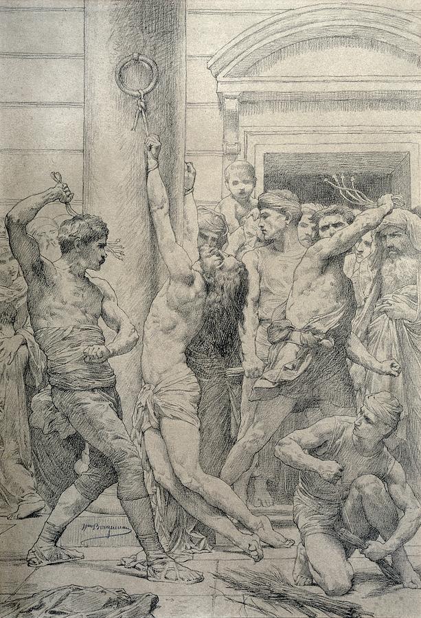 Jesus Pastel - The Flagellation Of Christ by William Adolphe Bouguereau