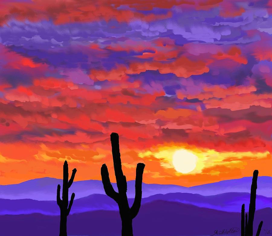 1172fd6c73a Desert Sunset Painting - The Flaming Desert by Amy Scholten