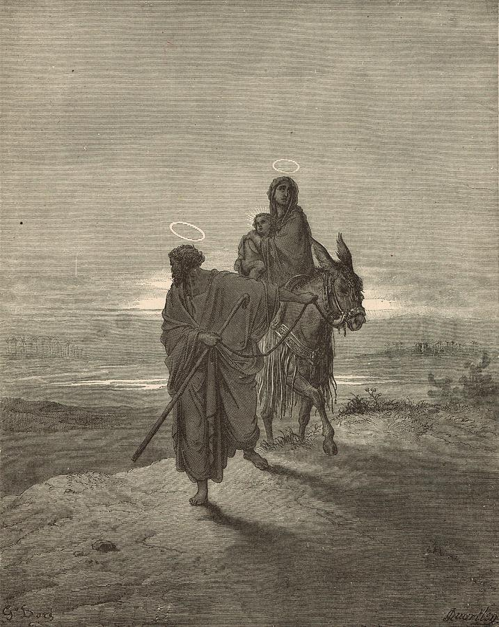 Biblical Drawing - The Flight Into Egypt by Antique Engravings