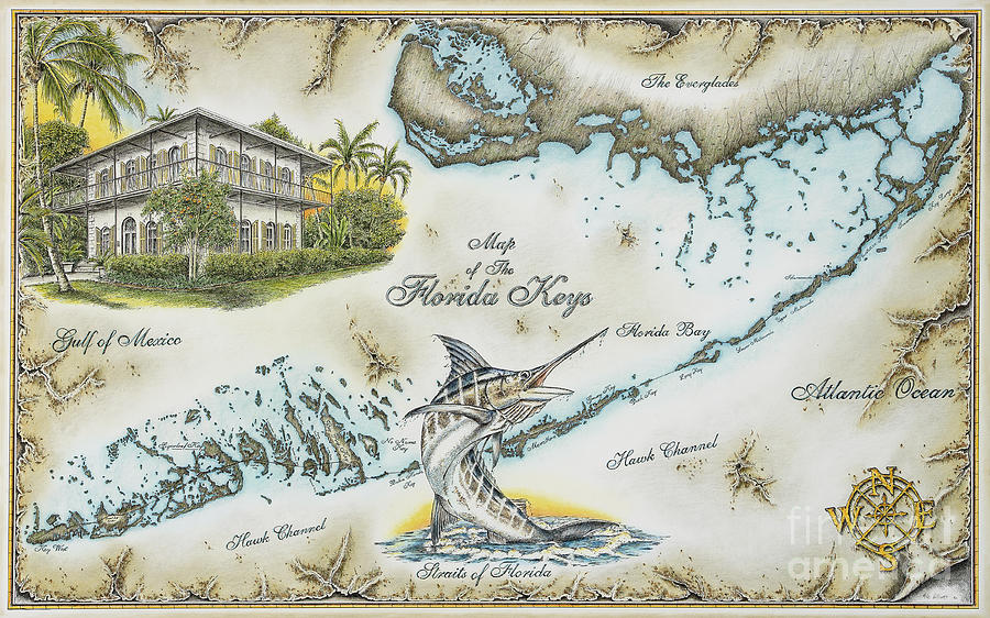 The Florida Keys Drawing By Mike Williams