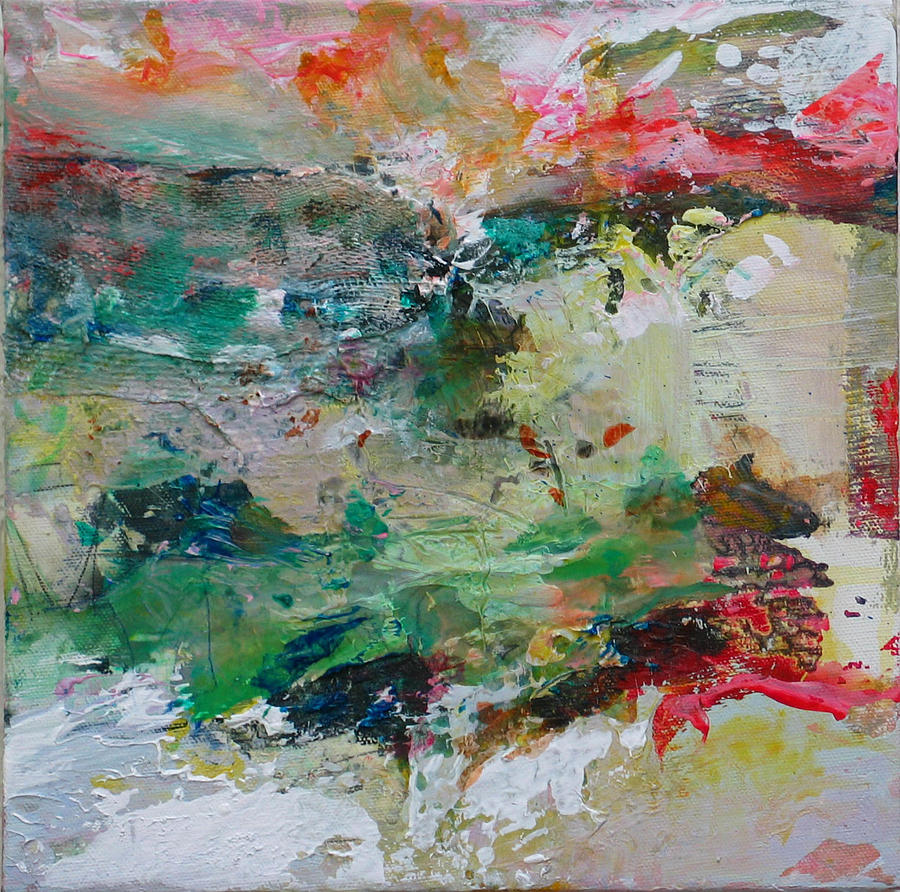 Red Painting - The Flow by Carol Surface
