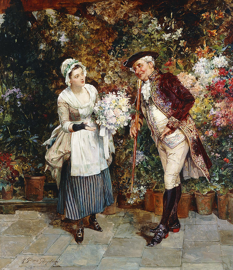 Apparel Painting - The Flower Girl by Henry Gillar Glindoni