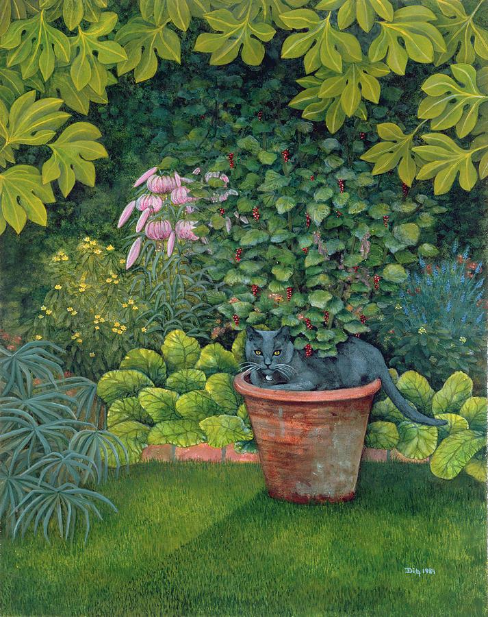 Cat Painting - The Flower Pot Cat by Ditz