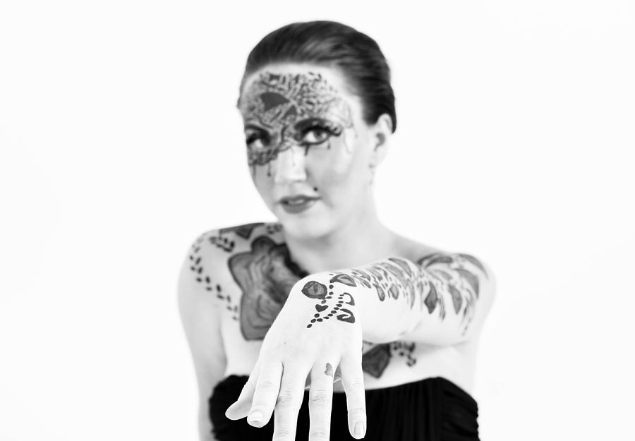 Tattoo Pyrography - The Flower Tattoo  by Alex Pochinok