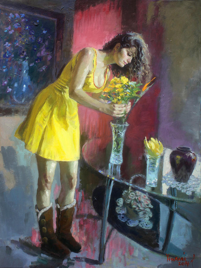 Girl Painting - The Flowers by Ylli Haruni