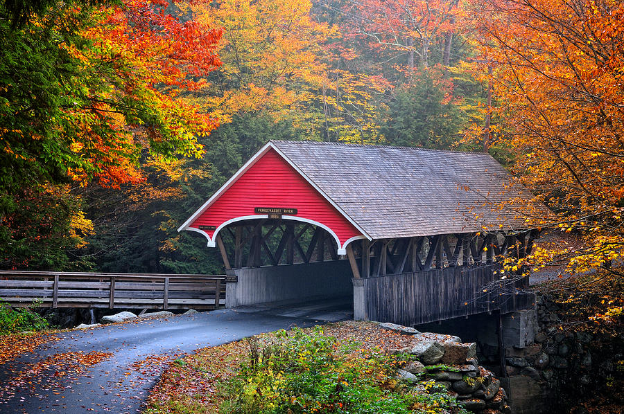The Flume Photograph - The Flume Covered Bridge by Expressive Landscapes Fine Art Photography by Thom