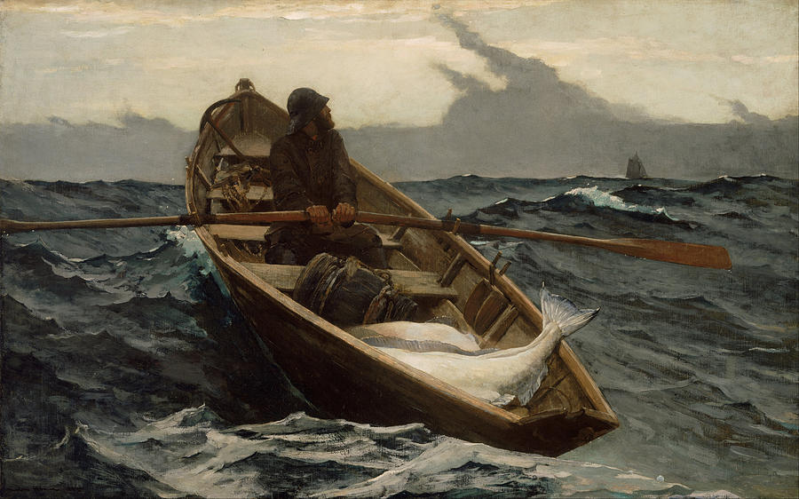 Winslow Homer Painting - The Fog Warning .halibut Fishing by Winslow Homer