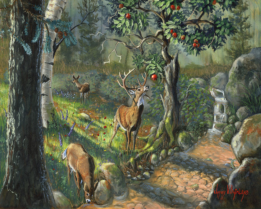 Deer Painting - The Forbidden Fruit by Jeff Brimley