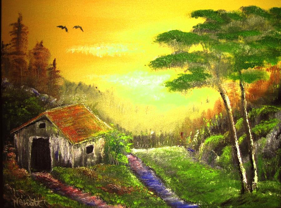 Forest Painting - The Forest House by M Bhatt