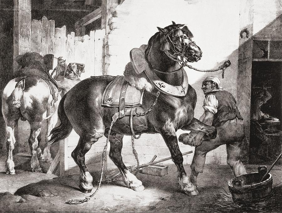 Horse Drawing - The Forge, From Etudes De Cheveaux, 1822 by Theodore Gericault
