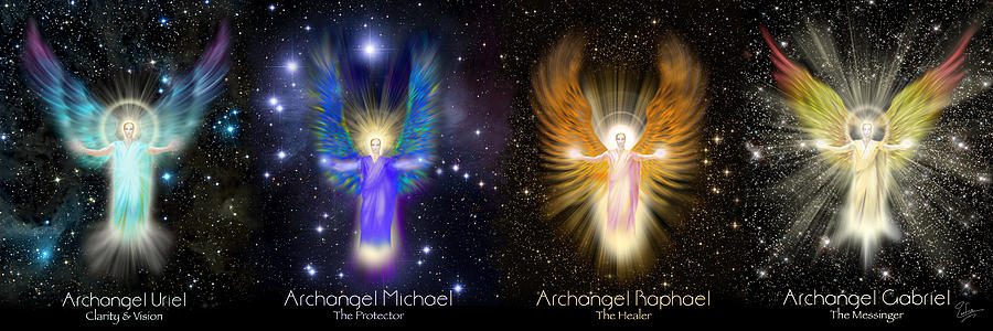 The Four Archangels Of Light Digital Art By Endre Balogh