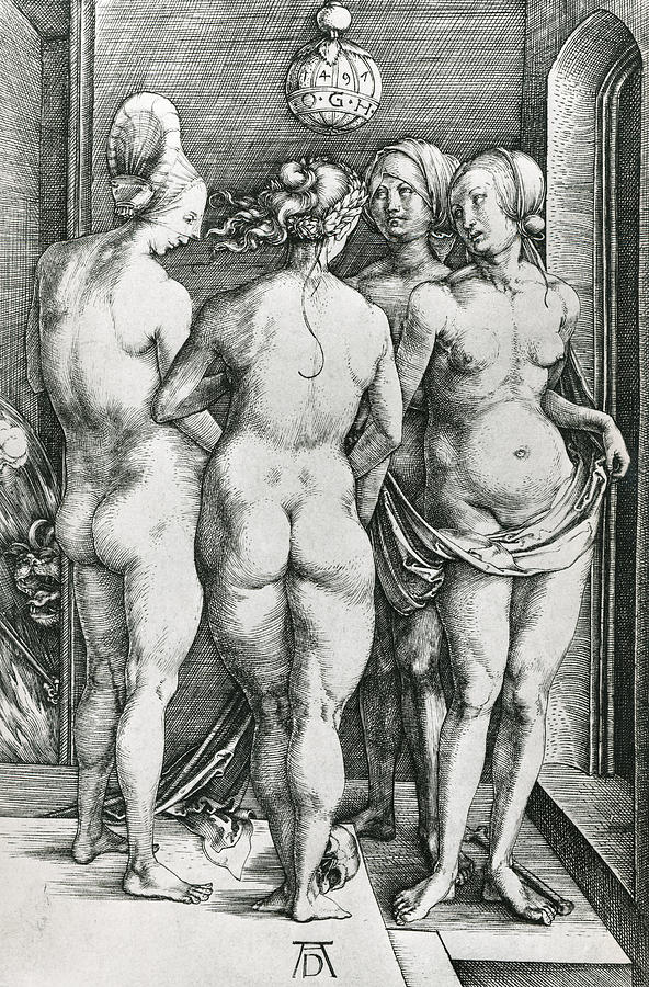 Northern Renaissance Drawing - The Four Witches by Albrecht Durer or Duerer