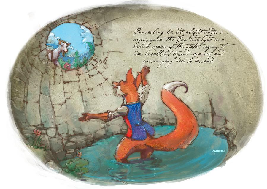 Story Book Painting - The Fox And The Goat IIi by Ashraf Ghori