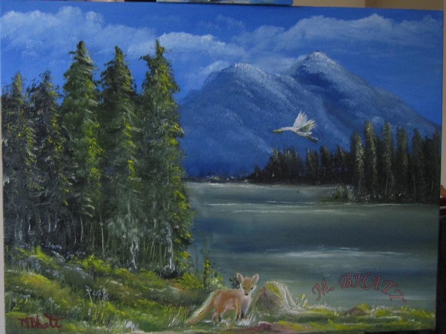 The Fox Painting - The Fox by M Bhatt