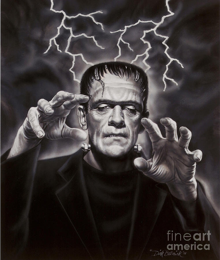 Portrait Painting - The Frankenstein Monster by Dick Bobnick