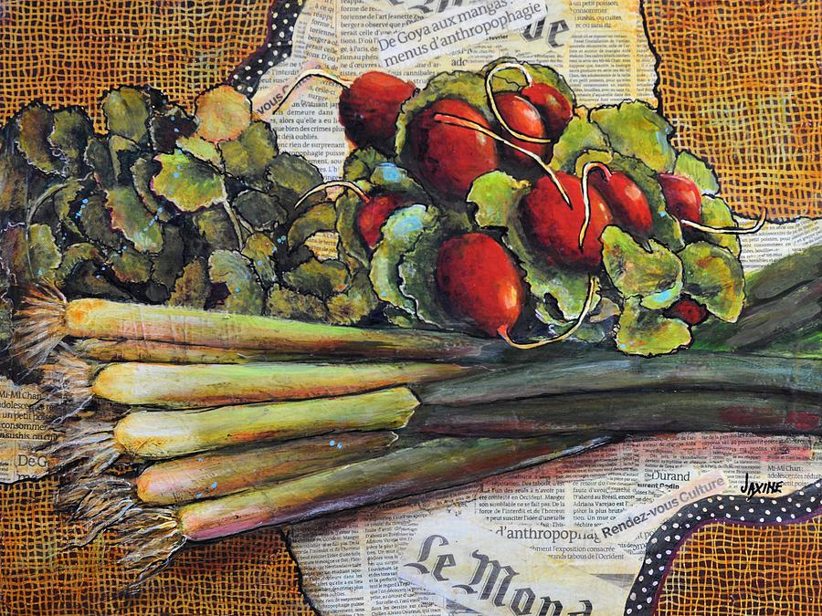 Vegetables Mixed Media - The French Cook by JAXINE Cummins