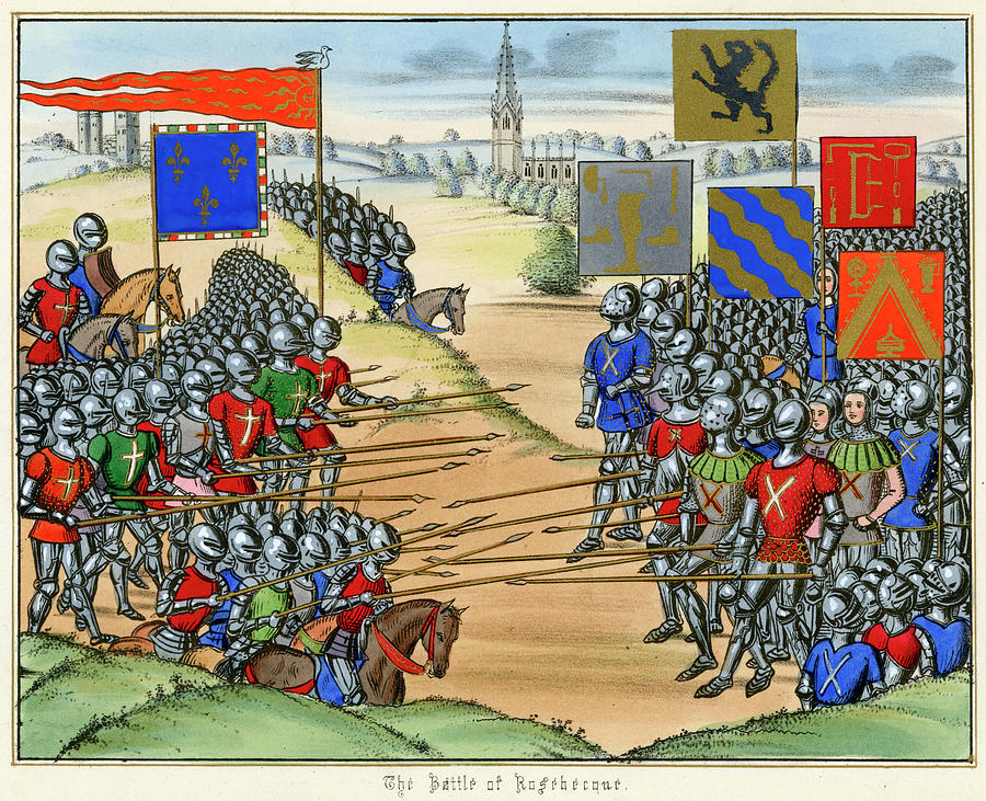 French Drawing - The French Defeat The Flemish by Mary Evans Picture Library