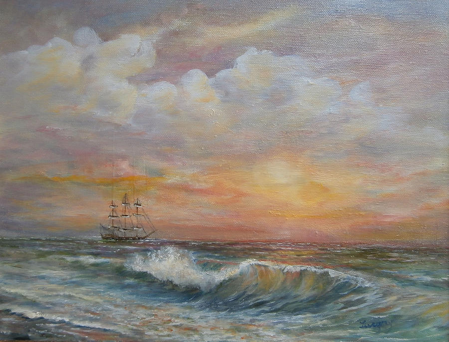Old Ship Painting - Sunlit  Frigate by Luczay