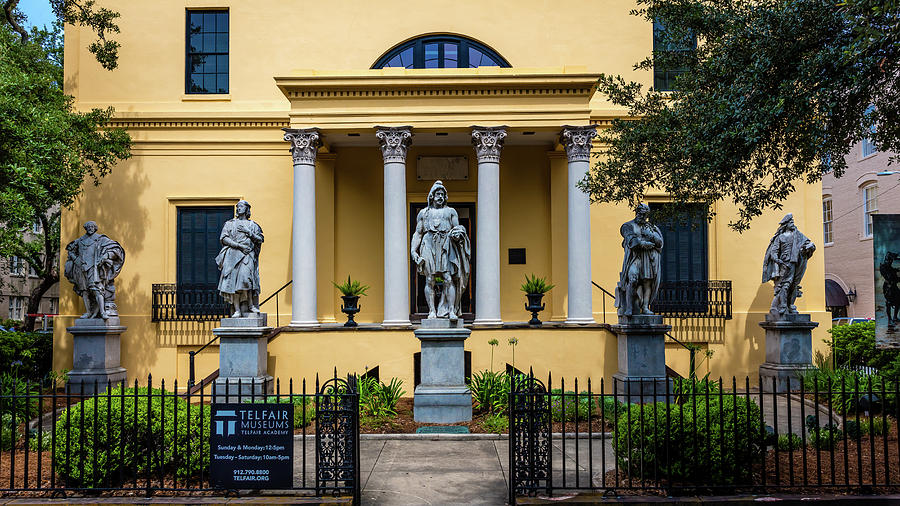 Horizontal Photograph - The Front Of The Telfair Museum Of Art by Panoramic Images